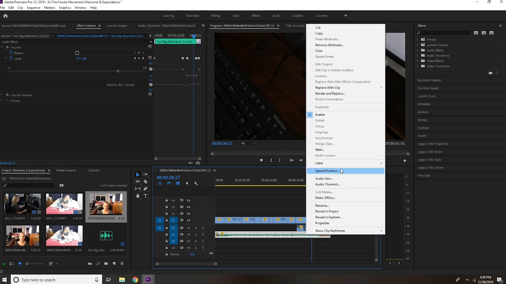 Audio clip sequence from adobe premiere pro shows additional options for audio editing.